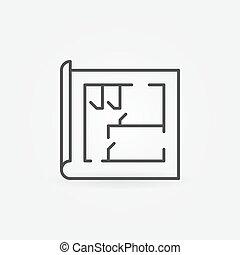 dom, kreska, plan, ikona