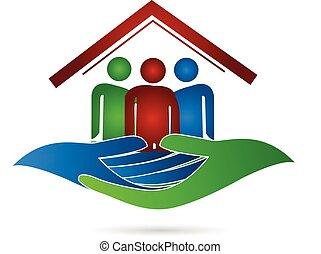 dom, logo, ochrona, rodzina, siła robocza