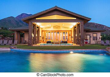 dom, luksus, kałuża, pływacki
