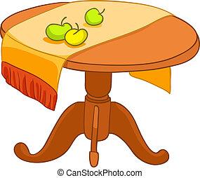 dom, meble, rysunek, stół