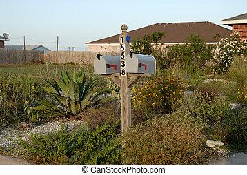 dom, na, skrzynka pocztowa, amerykanka, przód, typowy