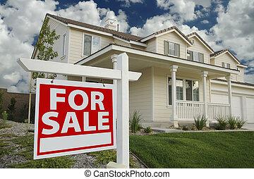dom, nowy, znak, sprzedaż, &