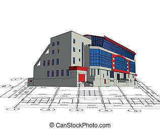 dom, odbitki światłodrukowy, wzór, górny, architektura