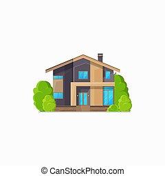 dom, odizolowany, gmach, hotel, chata, mieszkaniowy