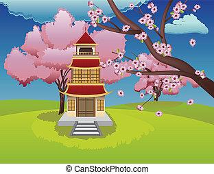 dom, orientalny, sakura, rozkwiecony