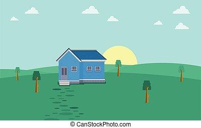 dom, pagórek, krajobraz, rano