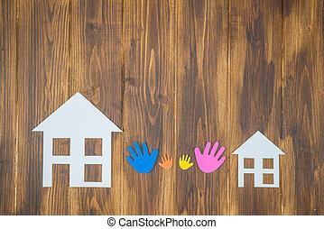 dom, papier, rodzina, siła robocza