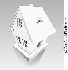 dom, papier, tło, szary, robiony