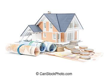 dom, pieniądze, -, finanse, dom