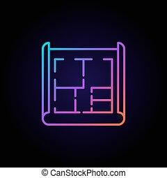 dom, plan, barwny, ikona