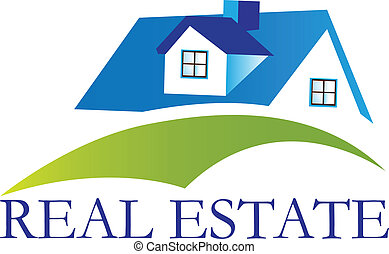 dom, prawdziwy, logo, wektor, stan