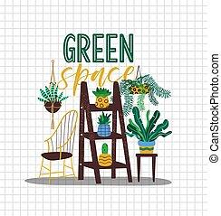 dom, przestrzeń, wewnętrzny, zielony, projektować, pojęcie, roślina