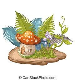 dom, robiony, gnom, grzyb