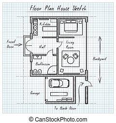 dom, rys, plan, podłoga
