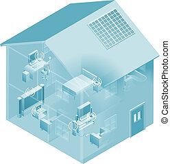 dom, sieć, miejscowy, powierzchnia, dom