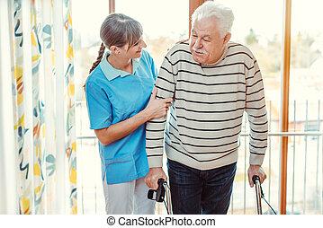 dom starców, człowiek, senior, porcja, pielęgnować, piesza budowa