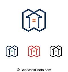 dom, symbol, kreska, stan, prawdziwy, nowoczesny, prosty