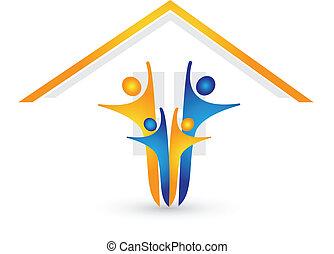 dom, szczęśliwy, logo, rodzina, wektor