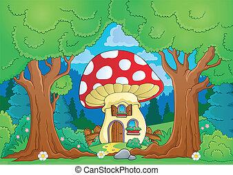 dom, temat, drzewo, grzyb
