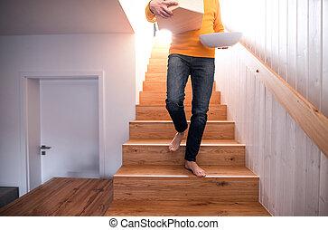 dom, unfurnished, ruchomy, pieszy., człowiek, kabiny, unrecognizable, nowy