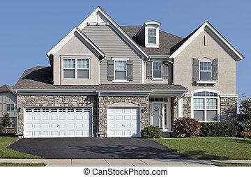 dom, wóz, kamień, trzy, garaż