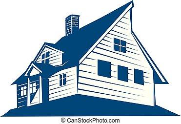 dom, wektor, projektować