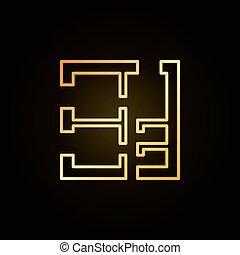 dom, złoty, plan, ikona