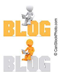 domena, posiedzenie, poznaczcie., litera, blog, 3d