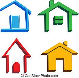 domy, 3d, ikony