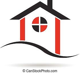 domy, czarny czerwony, logo