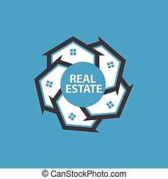 domy, koło, projektować, logo