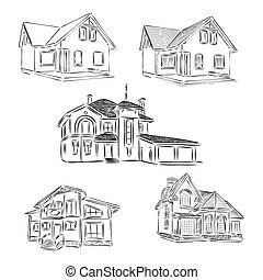 domy, rysunek, komplet, ilustracja, illustration., osobny, rys, domy, różny, ręka, garage., ogrody, pociągnięty, rodzina, dom, wektor, jednorazowy