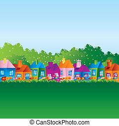 domy, rysunek, tło