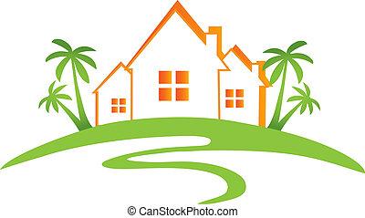 domy, słońce, dłonie, projektować