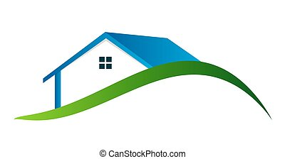 domy, wektor, ilustracja, logo