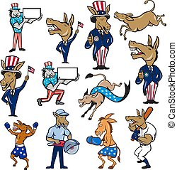 donkey-mascot-cartoon-set