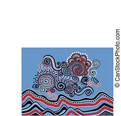 doodle, abstrakcyjny krajobraz