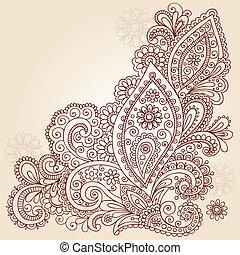 doodle, abstrakcyjny, wektor, projektować, henna