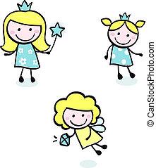 doodle, błękitny, sprytny, odizolowany, -, księżna, zbiór, biały