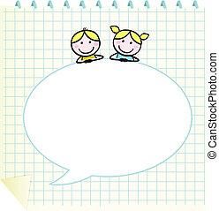 doodle, bańka, dzieci, czysty, mowa, szkoła, notatnik