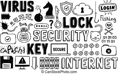 doodle, bezpieczeństwo, wektor, komplet, internet