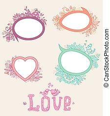 doodle, chorągwie, dzień, valentine