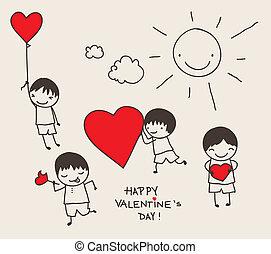 doodle, dzień, valentine