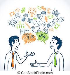 doodle, handlowy, rozmowa