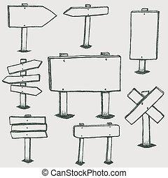 doodle, kierunek, drewno, strzały, znaki