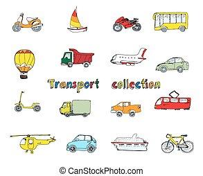 doodle, komplet, barwny, przewóz