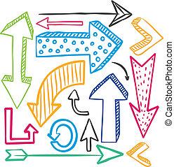 doodle, komplet, barwny, strzała