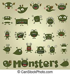 doodle, komplet, potwór