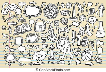 doodle, komplet, rys, projektować, notatnik