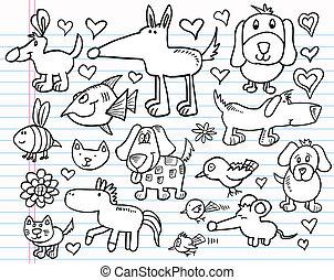 doodle, komplet, rys, zwierzę, notatnik